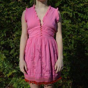 Pink Red Anthropologie Dress Medium
